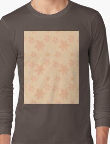 Coral pale pink white flowers and butterflies Long Sleeve T-Shirt