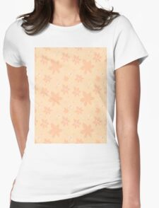Coral pale pink white flowers and butterflies Womens Fitted T-Shirt