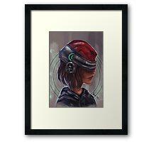 Cyborg Helmet Chick Framed Print