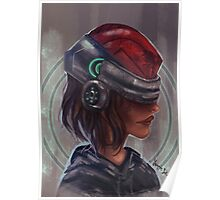 Cyborg Helmet Chick Poster