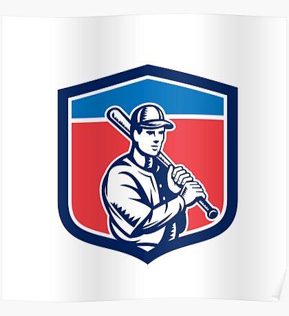 Baseball Holding Bat Shoulder Retro Poster