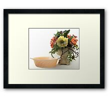 Flowers, Compote Vase and Bowl Framed Print