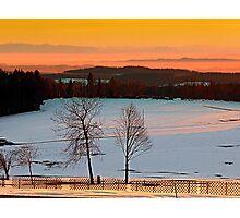 Amazing winter wonderland sundown | landscape photography Photographic Print