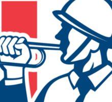 Soldier Blowing Bugle Crest Stars Retro Sticker