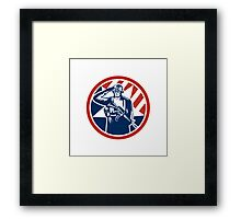 American Soldier Salute Holding Rifle Retro Framed Print