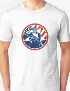 American Soldier Salute Holding Rifle Retro Unisex T-Shirt