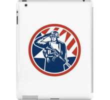 American Soldier Salute Holding Rifle Retro iPad Case/Skin