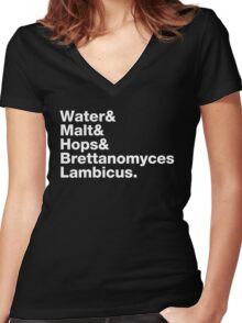 Water & Malt & Hops & Brettanomyces  Women's Fitted V-Neck T-Shirt