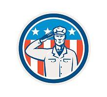 American Soldier Salute Flag Circle Retro by patrimonio