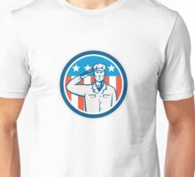 American Soldier Salute Flag Circle Retro Unisex T-Shirt