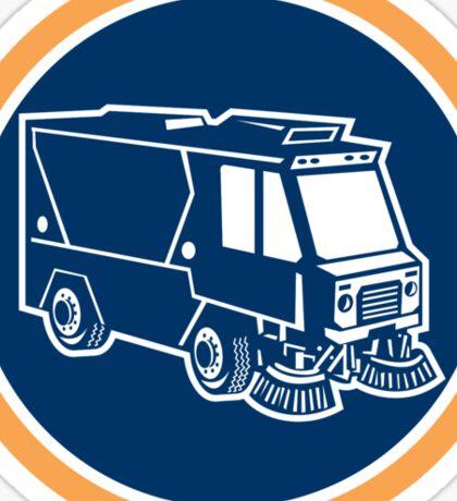 Street Cleaner Truck Circle Retro Sticker