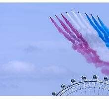 Red Arrows flying over London Eye Photographic Print
