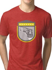 Steam Train Locomotive Retro Shield Tri-blend T-Shirt