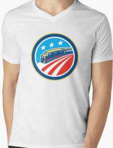 Diesel Train American Stars Stripes Retro Mens V-Neck T-Shirt