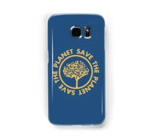 Save the planet hand drawn lettering on clean white background. Retro style calligraphy, motivational phrase for Earth day. For greeting card, logo, badge, print, poster, party designs. Samsung Galaxy Case/Skin