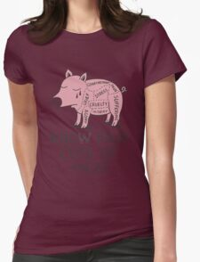 Vegan T-shirt - Know Your Cuts of Meat  Womens Fitted T-Shirt