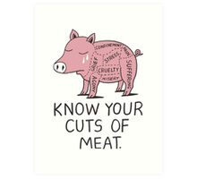 Vegan T-shirt - Know Your Cuts of Meat  Art Print