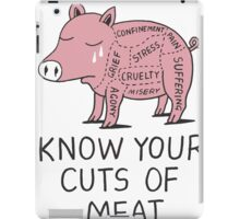 Vegan T-shirt - Know Your Cuts of Meat  iPad Case/Skin