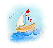 Watercolor whimsical sail boat on a windy day Photographic Print