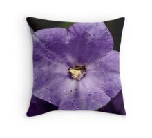 small raindrops on campanula flower Throw Pillow