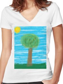 The lonely tree Women's Fitted V-Neck T-Shirt