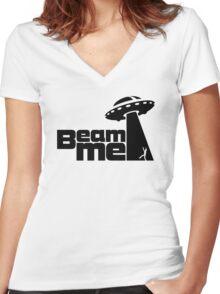 Beam me up V.2.1 (black) Women's Fitted V-Neck T-Shirt