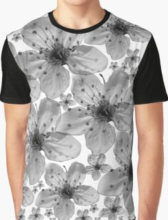 Black Flowers On White Background Graphic T-Shirt