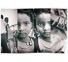 girl with parents, in 4 panels | kolkata, india Poster