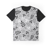 Assorted Leaf Silhouettes Monochrome Graphic T-Shirt