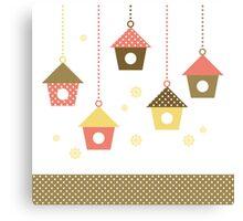Cute spring colorful Bird houses set vector Canvas Print