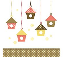 Cute spring colorful Bird houses set vector Photographic Print