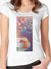 Sunset over the beach Women's Fitted Scoop T-Shirt