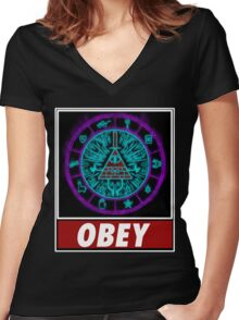 Gravity Falls- bill cipher wheel Obey Women's Fitted V-Neck T-Shirt