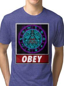 Gravity Falls- bill cipher wheel Obey Tri-blend T-Shirt