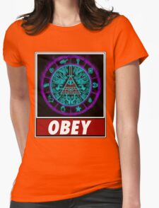 Gravity Falls- bill cipher wheel Obey Womens Fitted T-Shirt