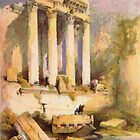 A digital painting of  the Remains of Western Portico, Baalbeck in 1839 by Dennis Melling