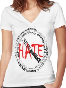 NO MORE HATE Women's Fitted V-Neck T-Shirt