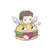 Castiel and burger by SnowCas