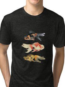 Botanical Fish Trio on Black Tri-blend T-Shirt