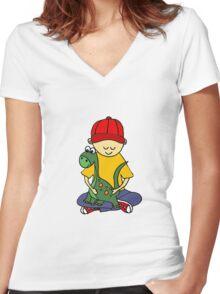 Cool Funny Cute Little Boy Hugging Pet Dinosaur Women's Fitted V-Neck T-Shirt