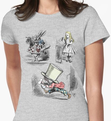 Alice in Wonderland Montage  Womens Fitted T-Shirt