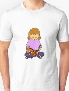 Cool Cute Little Girl Hugging her Kitten Unisex T-Shirt