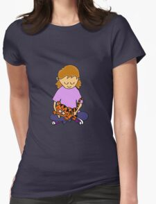 Cool Cute Little Girl Hugging her Kitten Womens Fitted T-Shirt