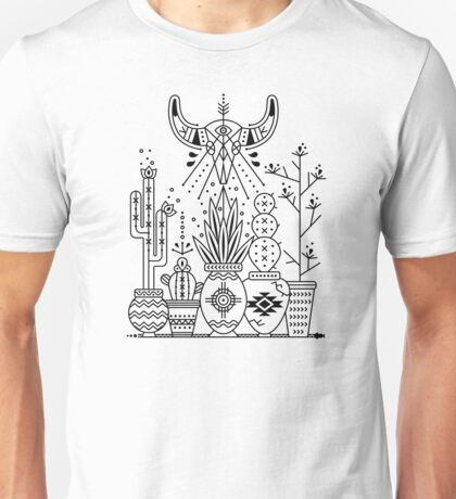 Santa Fe Garden – Black Ink Unisex T-Shirt