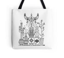 Santa Fe Garden – Black Ink Tote Bag