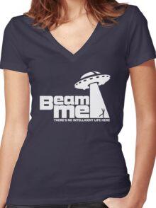 Beam me up V.2.2 (white) Women's Fitted V-Neck T-Shirt