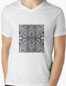 Black and White Hummingbird Mandala Mens V-Neck T-Shirt