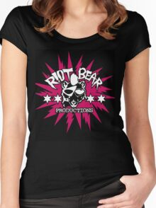 Riot Bear Productions pink and black  Women's Fitted Scoop T-Shirt