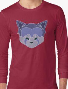 Cute Panda Head Logo T-Shirt Purple Lined Long Sleeve T-Shirt