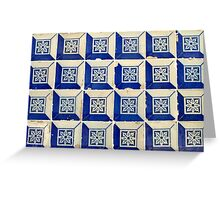 Blue and white 3D Tiles with flower Greeting Card